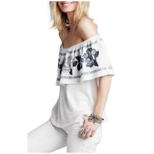 Free People • embroidered off the shoulder top